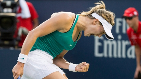 Eugenie Bouchard defeated Dominika Cibulkova in straight sets 6-2, 6-0 on Wednesday to advance to the third round of the Rogers Cup.
