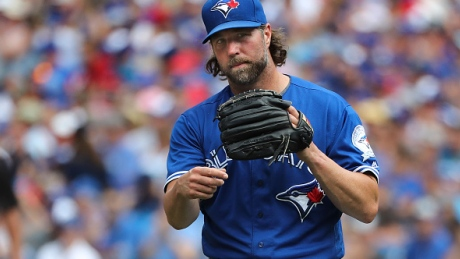 Toronto Blue Jays' R.A. Dickey allowed seven runs, six earned, on four hits in Wednesday's 8-4 loss to the San Diego Padres.