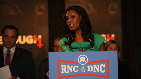 Omarosa Manigault, director of African-American outreach for the Donald Trump campaign, speaks at a news conference by the Republican National Committee on Tuesday, July 26, 2016.