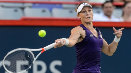 Samantha Stosur of Australia won a hard-fought match against Heather Watson of Great Britain in the opening-round of the Rogers Cup in Montreal.