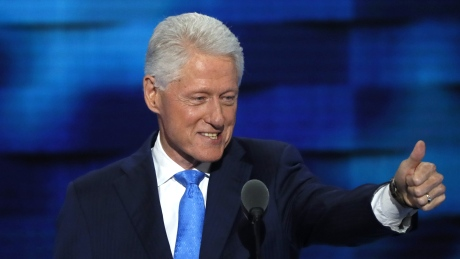 Former U.S. President Bill Clinton speaks at the Democratic National Convention in Philadelphia.
